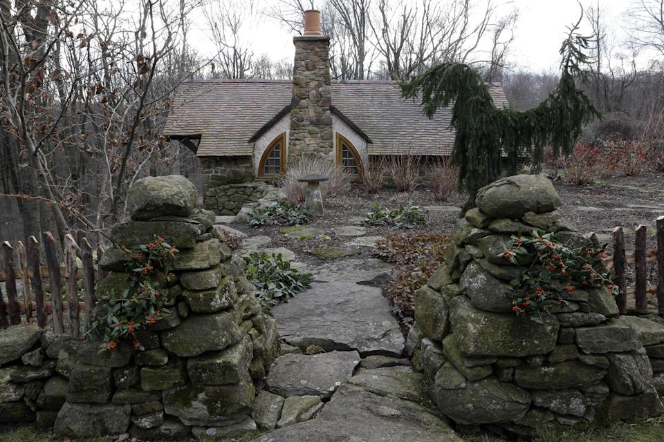 "Shown is an exterior view of the ""Hobbit House"" Tuesday, Dec. 11, 2012, in Chester County, near Philadelphia. Architect Peter Archer has designed a ""Hobbit House"" containing a world-class collection of J.R.R. Tolkien manuscripts and memorabilia. (AP Photo/Matt Rourke)"