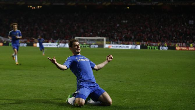 Chelsea's Branislav Ivanovic, from Serbia, reacts after scoring team's victory goal during the Europa League final soccer match between Benfica and Chelsea at ArenA stadium in Amsterdam, Netherlands, Wednesday May 15, 2013. (AP Photo/Matt Dunham)
