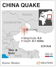 A graphic locates the site of an earthquake in western China. A magnitude 6.3 quake struck a remote region of western China, close to the Kazakhstan border, early on Saturday, the U.S. Geological Survey said. REUTERS/Graphics
