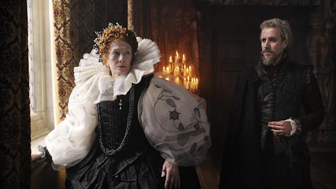 "In this film image released by Columbia Pictures, Vanessa Redgrave portrays Queen Elizabeth, and Rhys Ifans portrays the Earl of Oxford in a scene from ""Anonymous."" (AP Photo/Sony, Columbia Pictures, Reiner Bajo)"