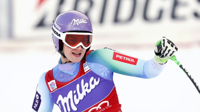 Maze of Slovenia reacts after placing seventh in the women's World Cup Downhill skiing race in Val d'Isere