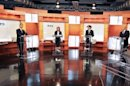 Candidatos a la presidencia mexicana durante el debate en el que el escote de una argentina hizo furor