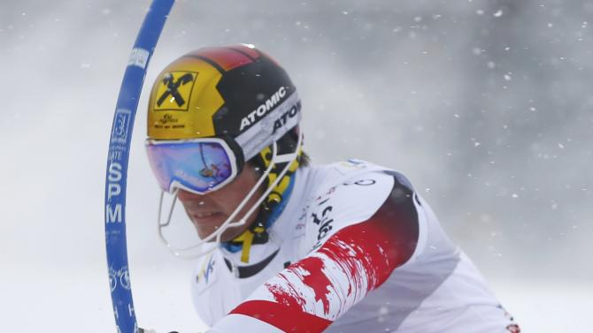 Hirscher of Austria competes during men's Alpine Skiing World Cup slalom in Kitzbuehel