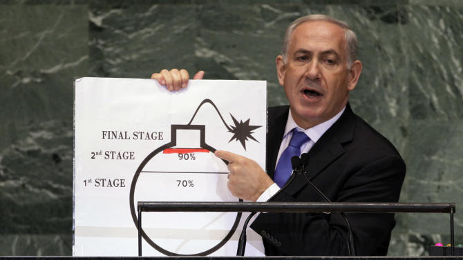 Prime Minister Benjamin Netanyahu of Israel shows an illustration as he describes his concerns over Iran's nuclear ambitions during his address to the 67th session of the United Nations General Assembly at U.N. headquarters Thursday, Sept. 27, 2012.(AP Photo/Richard Drew)