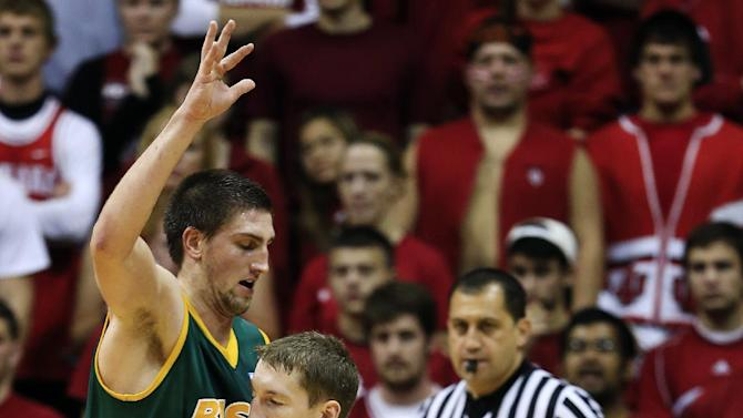 Indiana's Cody Zeller, right, goes to the basket against North Dakota State's Marshall Bjorklund during the first half of an NCAA college basketball game, Monday, Nov. 12, 2012, in Bloomington, Ind. (AP Photo/Darron Cummings)
