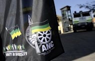 <p>A flag displaying African National Congress' logos is pictured on July 15, 2011 in Johannesburg. The ANC, Ramphele argues, has failed to improve the lot of impoverished blacks in what remains one of the world's most unequal nations 19 years after the end of apartheid.</p>