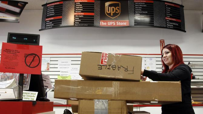 In this Jan. 30, 2012, UPS Store employee, Candy Mojica, weighs packages before shipping at The UPS Store in the Lake Balboa area of Los Angeles. The unemployment rate fell for the fifth straight month after a surge of January hiring, a promising shift in the nation's outlook for job growth. (AP Photo/Damian Dovarganes)