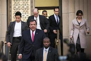 New Jersey Governor Chris Christie departs City Hall in Fort Lee