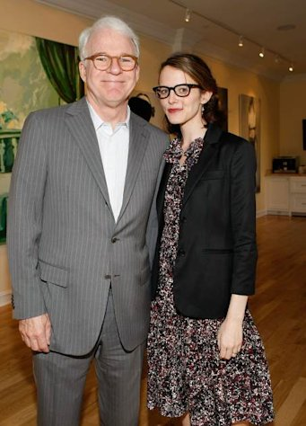 Steve Martin and wife Anne Stringfield attend the presentation of 'Wounded' curated by Carole Bayer Sager at LA Art House on May 6, 2009 in West Hollywood, Calif. -- Getty Images