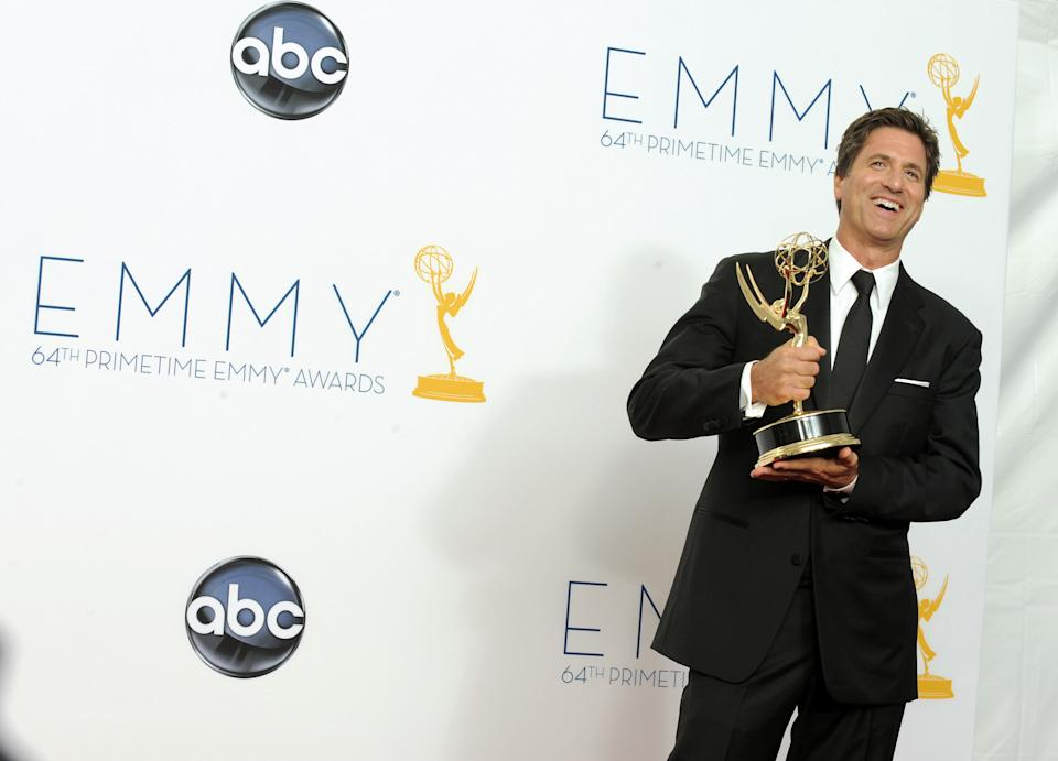 Director Steven Levitan, winner Outstanding Directing for a Comedy Series for 'Modern Family,' backstage at the 64th Primetime Emmy Awards at the Nokia Theatre on Sunday, Sept. 23, 2012, in Los Angeles. (Photo by Jordan Strauss/Invision/AP)