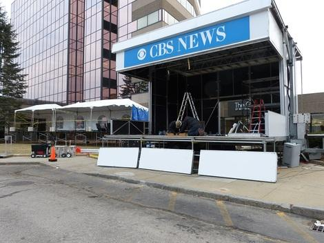 The CBS booth was dismantled the day after the election ((Manchester, NH, 1-11-12)