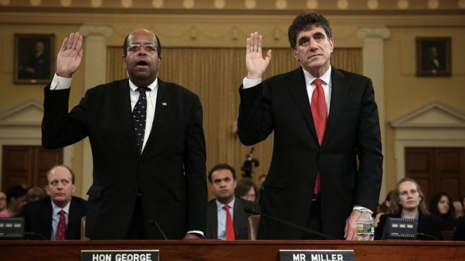 Former acting commissioner of the IRS Steve Miller, right, and Treasury Inspector General for Tax Administration J. Russell George testify during a May 17 hearing.