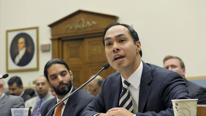 San Antonio,, Texas Mayor Julian Castro, right, testifies on Capitol Hill in Washington, Tuesday, Feb. 5, 2013, before the House Judiciary Committee hearing on America's Immigration System: Opportunities for Legal Immigration and Enforcement of Laws against Illegal Immigration.  (AP Photo/Susan Walsh)