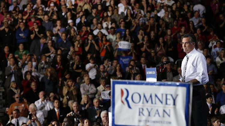 Republican presidential candidate, former Massachusetts Gov. Mitt Romney campaigns at the Bank United Center, at The University of Miami, in Coral Gables, Florida, Wednesday, Oct. 31, 2012. (AP Photo/Charles Dharapak)