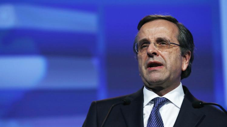 Greek PM Samaras speaks at the European People's Party Elections Congress in Dublin