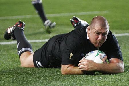 New Zealand All Blacks' Woodcock scores a try against France during their Rugby World Cup final match in Auckland