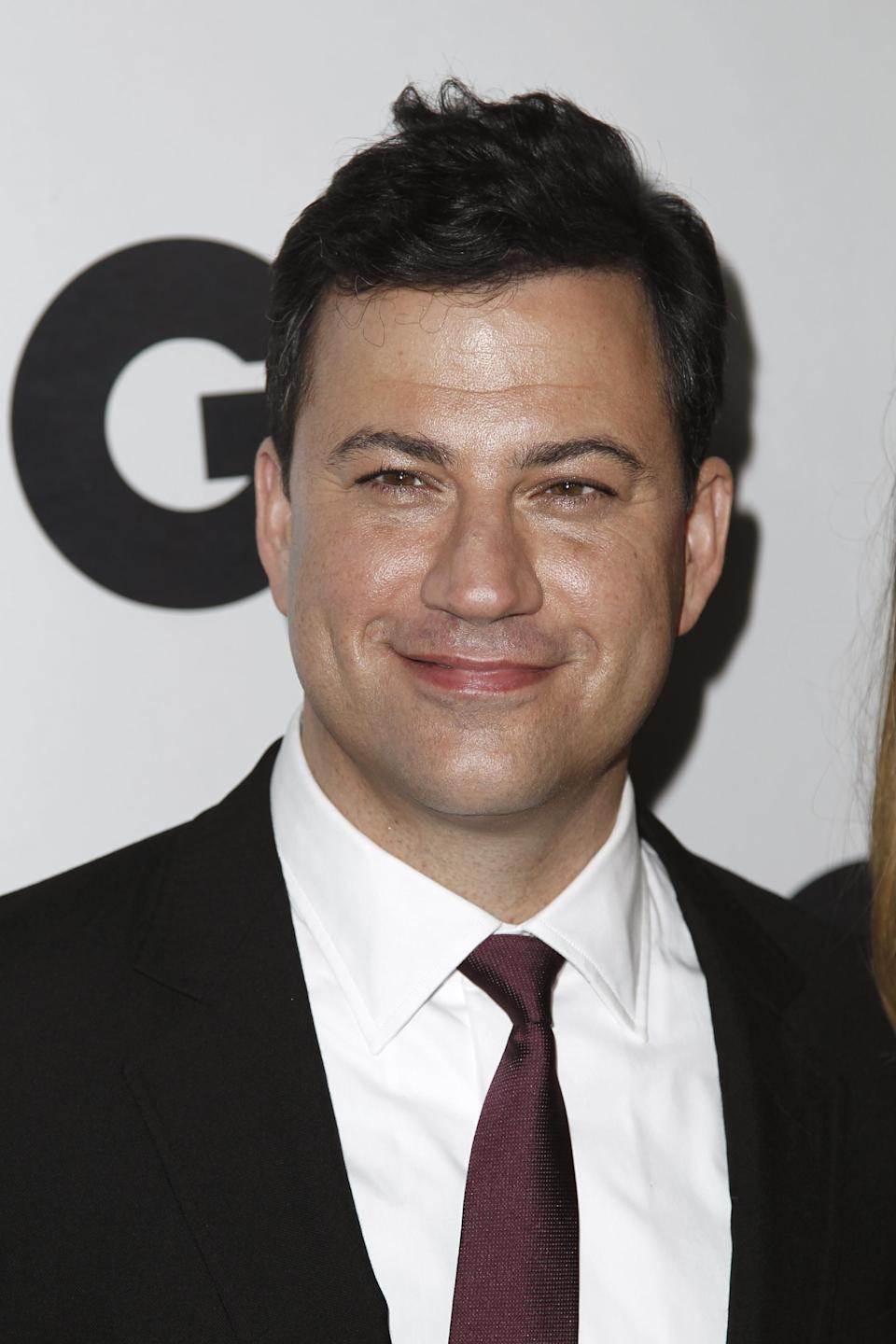 "FILE - In this Nov. 17, 2011 file photo, Jimmy Kimmel arrives at the 16th annual GQ ""Men of the Year"" party in Los Angeles. On the eve of the 64th Primetime Emmy Awards nominations announcement, Nick Offerman is out and Jimmy Kimmel is in. Kimmel, who will host the Emmys on ABC, will step in for him, the academy said Wednesday evening, July 18, 2012. (AP Photo/Matt Sayles, File)"