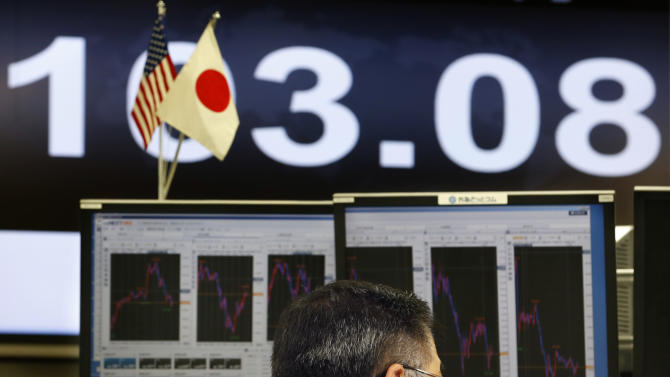 A money trader works under a screen indicating the U.S. dollar is traded at 103.08 yen at a foreign exchange company in Tokyo, Thursday, May 23, 2013.  The dollar fell to 103 yen level. (AP Photo/Shizuo Kambayashi)