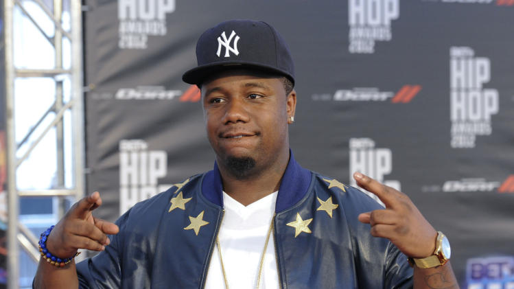 Murda Mook attends the red carpet at the BET Hip-Hop Honors at Boisfeuillet Jones Atlanta Civic Center on Saturday, Sept. 29, 2012, in Atlanta. (Photo by John Amis/Invision/AP)