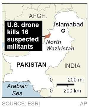 Map locates North Waziristan, Pakistan, where a U.S. drone killed 16 suspected militants; 1c x 2 inches; 46.5 mm x 50 mm;