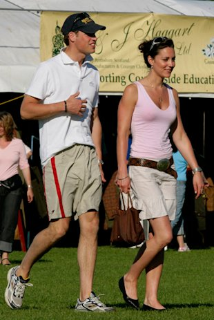 British royal HRH Prince William and girlfriend Kate Middleton at Beaufort Polo Club in Tetbury