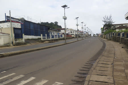An empty street is seen at the start of a three-day national lockdown in Freetown