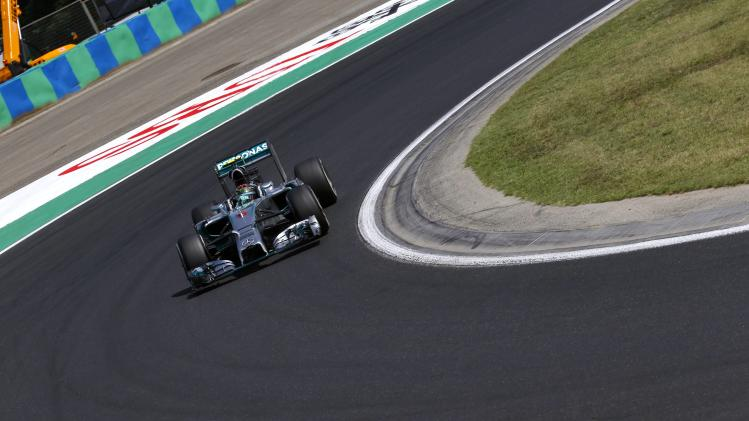Mercedes Formula One driver Nico Rosberg of Germany pilots his car during the first free practice session of the Hungarian Grand Prix at the Hungaroring circuit