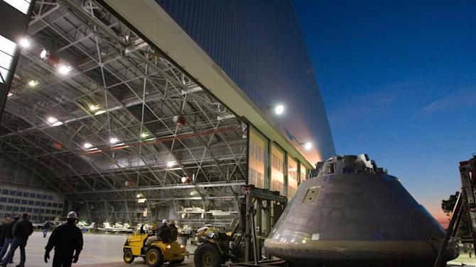 In this March 10, 2008 photograph made available by NASA, a simulated Orion crew module mock-up is being unloaded in a hangar in Langley Air Force Base in Hampton, Va. for testing. The capsule was later renamed the Multi-Purpose Crew Vehicle. The U.S. space agency is teaming up with the European Space Agency to get astronauts beyond Earth's orbit. Officials said Wednesday, Jan. 16, 2013 that Europe will provide the propulsion and power compartment for NASA's new Orion crew capsule. This so-called service module is planned to be first used on an unmanned mission in 2017. (AP Photo/NASA, Sean Smith)