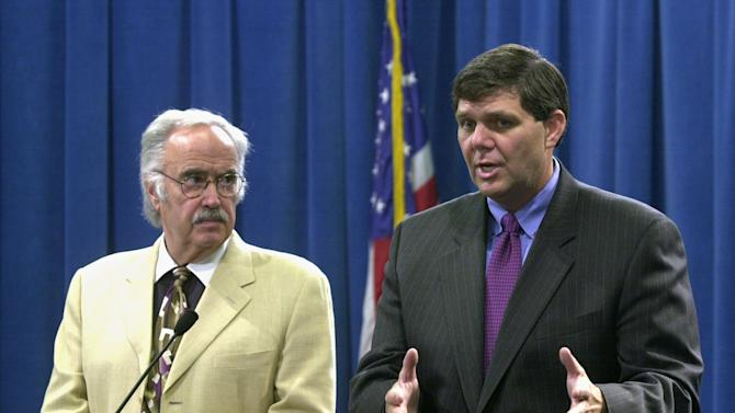 File - In this July 24, 2003 file photo, then State Sen. Minority Leader Jim Brutle, right, speaks next to then Senate President Pro tem John Burton, D-San Francisco, left, during a Capitol news conference in Sacramento, Calif. As Republicans nationwide reconsider the party's direction, nowhere is their challenge more daunting than in California. In an attempt to restore their party to relevance, Republican delegates are expected to elect as their new chairman this weekend a former state lawmaker who is widely seen as a pragmatist and a political moderate. But it's far from clear whether the former state senator, Jim Brulte, or anyone else can turn around the party's political fortunes. (AP Photo/Rich Pedroncelli, file)