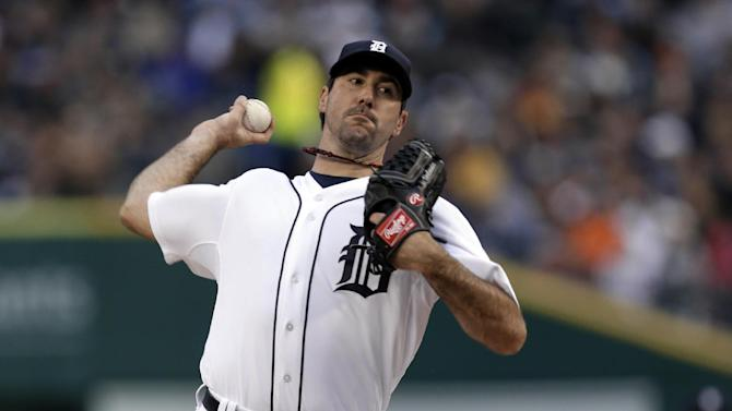 Detroit Tigers pitcher Justin Verlander throws against the Cleveland Indians in the first inning of a baseball game in Detroit, Saturday, May 11, 2013. (AP Photo/Paul Sancya)
