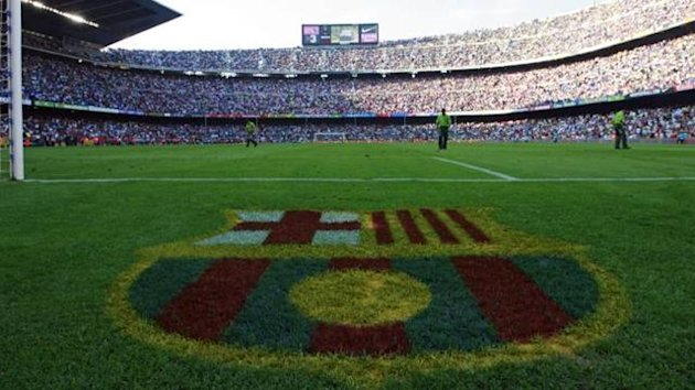 FOOTBALL - Barcelona logo at the Camp Nou