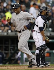 El dominicano Robinson Can, de los Yanquis de Nueva York, fue nombrado capitn del equipo de la Liga Americana para el Derby de Jonrones de las Grandes Ligas que se disputar el 9 de julio en el Estadio Kauffman, en Kansas City, el da anterior al Juego de Estrellas. En la imagen, Can anota en un partido contra los Tigres de Detroit despus de que su compaero Derek Jeter recibiera base por bolas el viernes 1 de junio de 2012. (Foto AP/Paul Sancya)