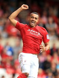 Nottingham Forest's Lewis McGugan celebrates scoring against Charlton