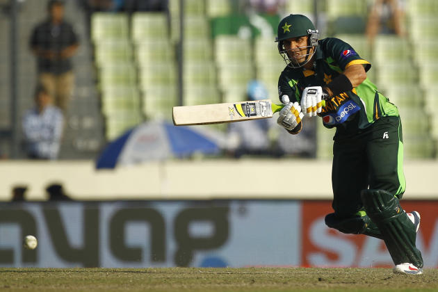 Pakistan's captain Misbah-ul-Haq plays a shot against Sri Lanka during their Asia Cup final cricket match in Dhaka, Bangladesh, Saturday, March 8, 2014. (AP Photo/A.M. Ahad)