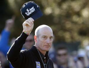 Furyk of the U.S. acknowledges the crowd after shooting a 59 during the BMW Championship golf tournament in Lake Forest, Illinois