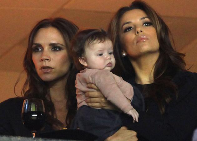 Little Harper Beckham had a showbiz day out watching her dad playing football, whilst hanging out with her mum and Eva Longoria. It's a hard life.