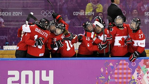 Canada's players on the bench celebrate their second goal against Team USA (Reuters)