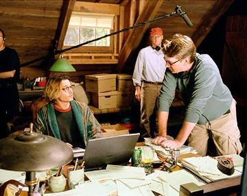 Johnny Depp and director David Koepp on the set of Columbia's Secret Window