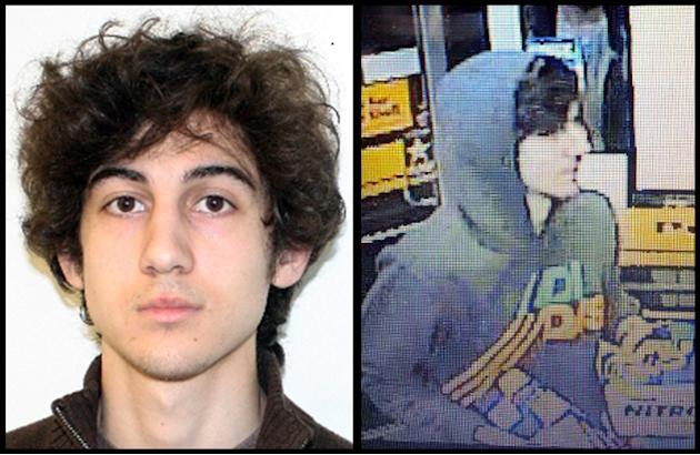 This combination of photos provided on Friday, April 19, 2013 by the Federal Bureau of Investigation, left, and the Boston Regional Intelligence Center, right, shows a suspect that officials have iden