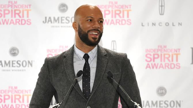 Common appears on stage at the Film Independent Spirit Awards Nominations press conference at The W Hotel Hollywood on Tuesday, Nov. 27, 2012, in Los Angeles. The show will be held on Saturday, February 23, 2012 in the afternoon in a tent on the beach in Santa Monica. (Photo by John Shearer/Invision/AP)
