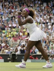 Serena Williams of the United States reacts after winning against Zheng Jie of China during a third round women's singles match at the All England Lawn Tennis Championships at Wimbledon, England, Saturday, June 30, 2012. (AP Photo/Anja Niedringhaus)