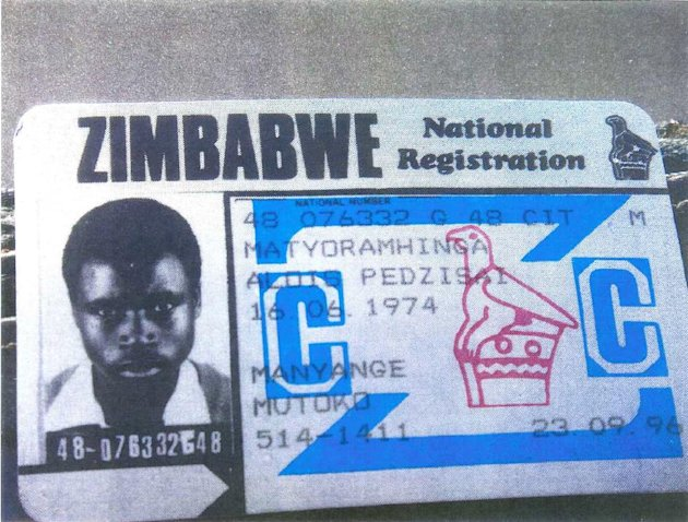 This image provided by U.S. District Court in Alexandria, Va., shows the Zimbabwe National Registration card for Alois Pedzisai Matyoramhinga. Unusual circumstances have left federal prosecutors pursu