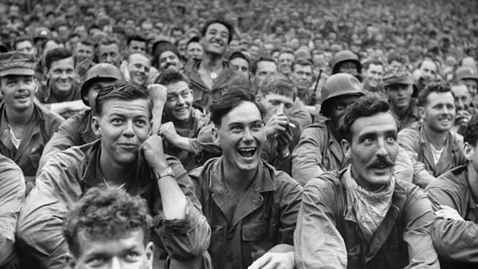 Not originally published in LIFE. American and United Nations troops enjoy a Jack Benny performance at a USO show in Korea, July, 1951. Michael Rougier—Time & Life Pictures/Getty Images