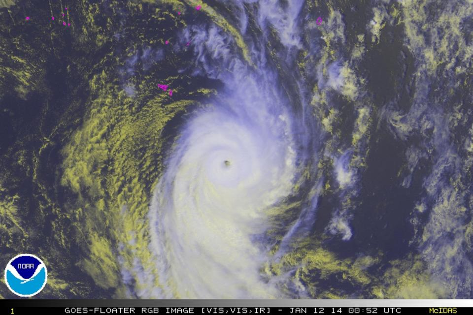 Tropical Cyclone Ian is seen in this NOAA GOES satellite handout image