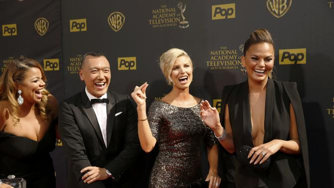 The F.A.B. show hosts Makk, Zee, Ashley and Teigan arrive at the 42nd Annual Daytime Emmy Awards in Burbank