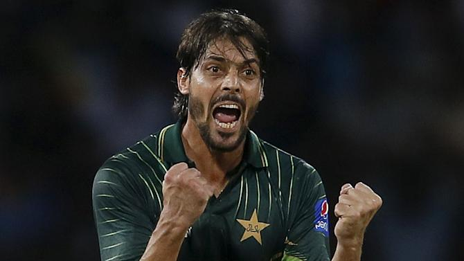 Pakistan's Ali celebrates after taking the wicket of Sri Lanka's Perera during their first Twenty 20 cricket match in Colombo
