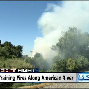 Firefighters Setting Training Grass Fires Along American River Parkway