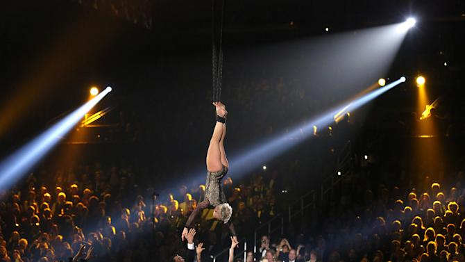 Pink performs at the 56th annual Grammy Awards at Staples Center on Sunday, Jan. 26, 2014, in Los Angeles. (Photo by Matt Sayles/Invision/AP)