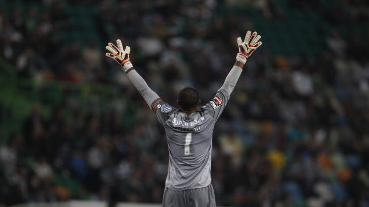 Porto's goalkeeper Arruda reacts during their Portuguese premier league soccer match against Sporting at Alvalade stadium in Lisbon