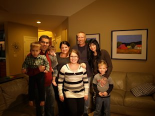 The Citrons (left and center) with birth mom Tammy Nelson, her fiance and son, Ryder. (Courtesy Tracey Citron)